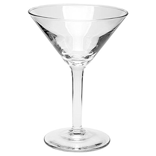 Tapered Clear Stem (Martini Glasses, Made in USA. Set of 2-7.5oz. Clear, Long Stem, Tapered Bowl, Thick Glass Base. Sturdy Enough to Stand up to Heavy Use)