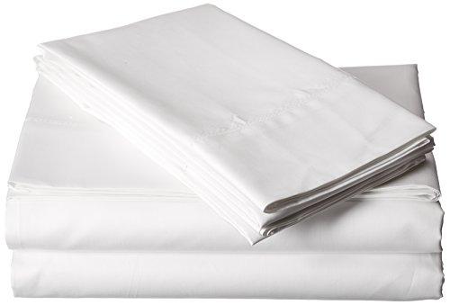 Tribeca Living Egyptian Cotton Sateen 800 Thread Count Hemstitched Deep Pocket Sheet Set, California King, White