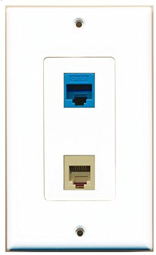 RiteAV - 1 Port Phone Beige 1 Port Cat6 Ethernet Blue Decorative Wall Plate ()
