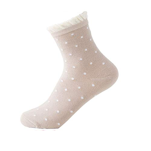 4 Pairs Women Crew Socks Novelty Cute Cotton Lace Wave Point Ankle Socks Anti Slip Non Skid Wicking Running Hiking