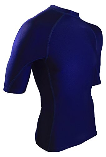 Rash Guard Men - USA Made Swim & Workout Shirt. UV 50+ Protection and Sweat Guard for Everyday Workouts. (Navy Blue, Medium)