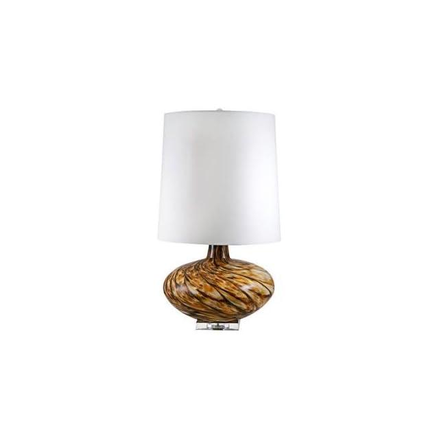 Swirl Amber Art Glass Table Lamp