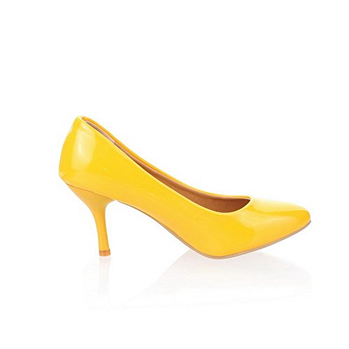38 WeiPoot Pumps Patent Closed Pointed Kitten Toe Leather Women's Shoes Heels Yellow qPnO6qwxFr