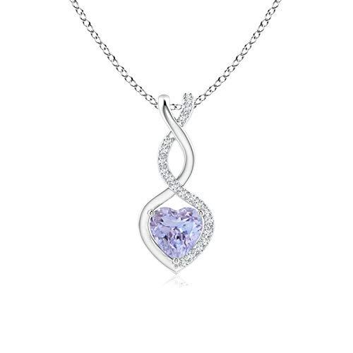 Tanzanite Infinity Heart Pendant with Diamonds in Silver (5mm Tanzanite)