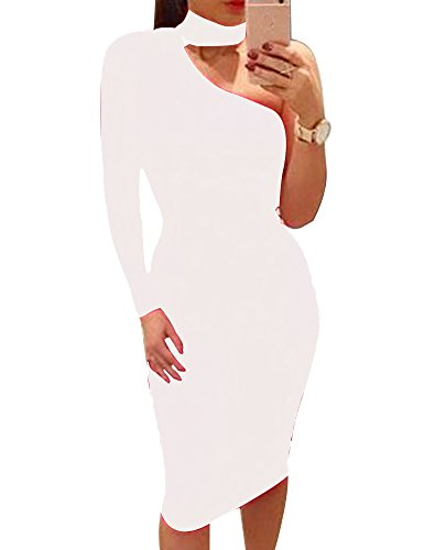 Allegrace Women Sexy One Shoulder Long Sleeve Bodycon - Womens Sexy White Dresses