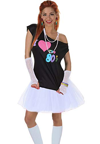 Women's I Love The 80's T-Shirt 80s Outfit Accessories(S/M,White) -