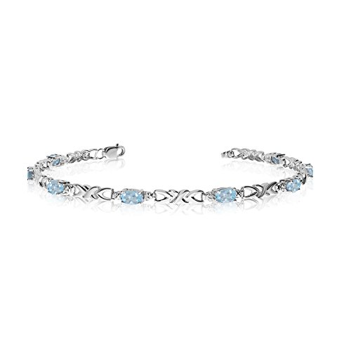 14K White Gold Oval Aquamarine and Diamond Bracelet (6 Inch ()