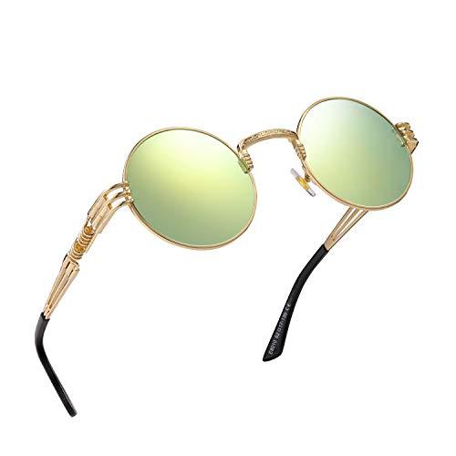 RANHUU Steampunk Round Sunglasses for Men and Women John Lennon Glasses Circle Metal Eyewear (Gold Frame/Gold Mirrored Lens)