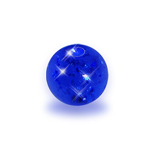 4mm Blue Glitter Acrylic Captive Bead Ring Replacement (Replacement Captive Beads)