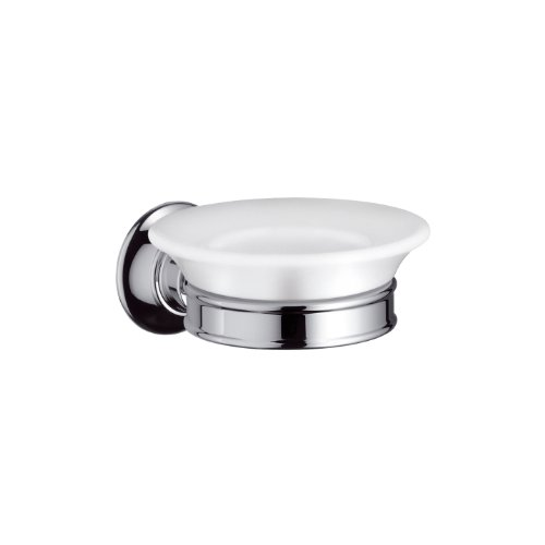 Hansgrohe 42033820 Axor Montreux Soap Dish Wall Mounted with Porcelain Dish, Brushed Nickel by Hansgrohe