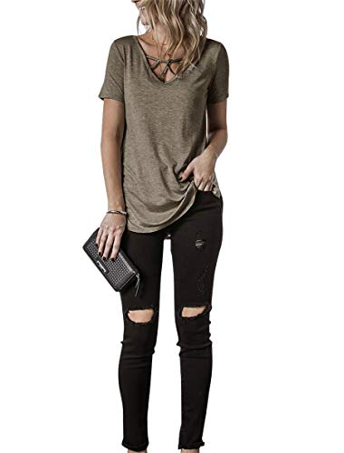 Topstype Womens Summer Short Sleeve T Shirts V Neck Tunic Criss Cross Tops Cute Tees Loose Fitted Henley Workout Shirts(XX-Large,Gray Brown)