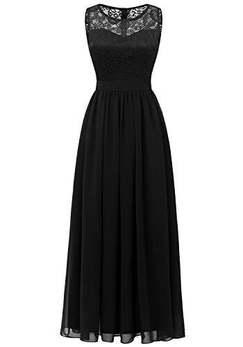 Dressystar 0046 Lace Chiffon Bridesmaid Dress Sleeveless Formal Wedding Party Dress Black XL