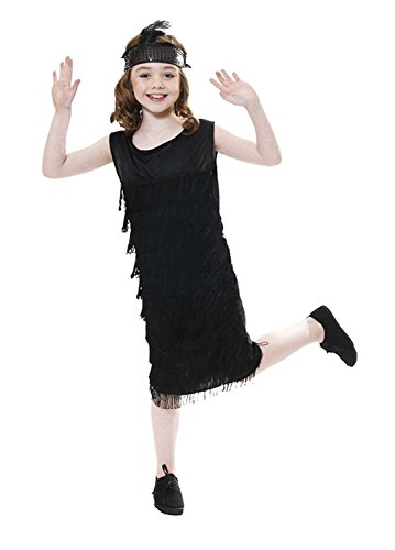 Rimi Hanger Child Flapper W/Tassles Outfit Girls 1920s Charleston Fancy Dress Dance Costume Flapper Costume Small 4-6 Years