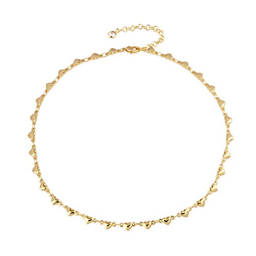 Mevecco Gold Dainty Heart Shaped Choker Necklace,14K Gold Plated Tiny Small Cute Heart Delicate Simple Minimalist Fashion Link Chain Choker Necklace for Women
