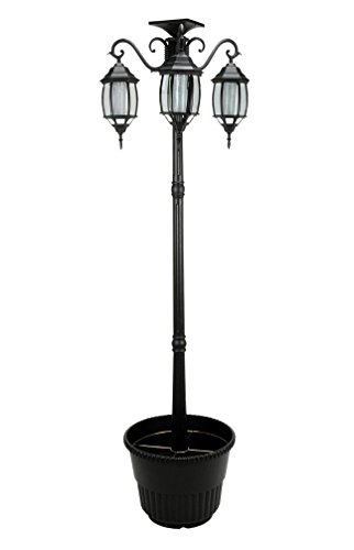 6.7 ft (80 in) Tall Solar Lamp Post and Planter 3 Heads - Black Product SKU: SO30346 by PSW - Solar Lamp Post