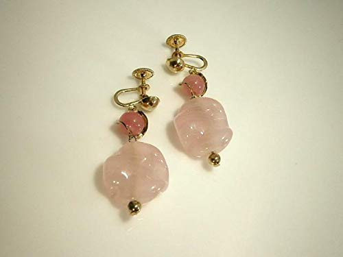 XX Pretty Signed Coro Vintage 1950's-60's Pink Art Glass Dangle Earrings