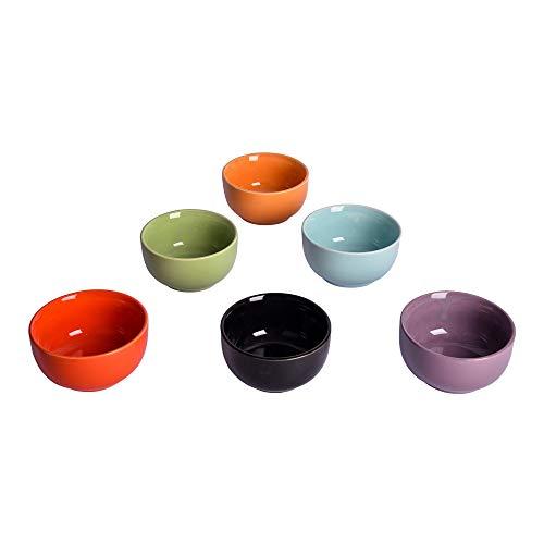 Anwaliya Fortuna Series Ceramic Dessert/Curry Bowls – 6 Pieces, Assorted Mutli Color, 200 ML