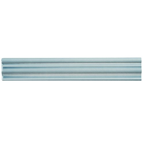Ceramic Chair Rail Tile (SomerTile WNU36CAM Penn Aqua Chair Rail Ceramic Wall Trim Tile, 2