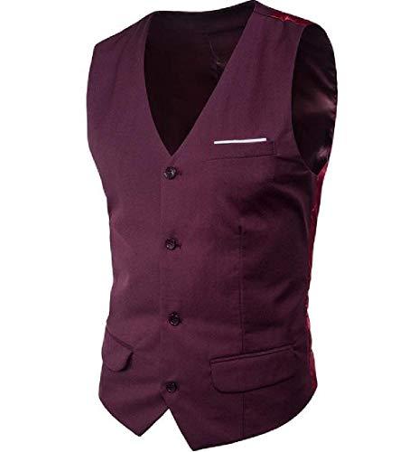 En Col Simple Smoking De Mode Boutonnage V À Mariée Gilet Fit Vintage Veste Slim Costume Dunkelviolett Mens qB1z7P