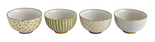 Various Vintage Modern Patterns 4.5 x 4.5 Stoneware Decorative Bowls, Set of 4 ()