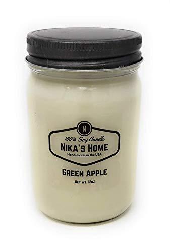 Nika's Home Green Apple 12oz Mason Soy Candle