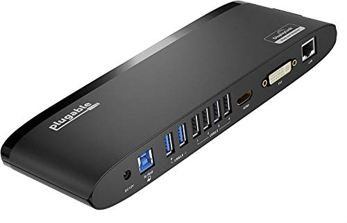 Plugable USB 3.0 Universal Laptop Docking Station for Windows (Dual Monitor: HDMI and DVI/HDMI/VGA, Gigabit Ethernet, Audio, 6 USB Ports) - Horizontal