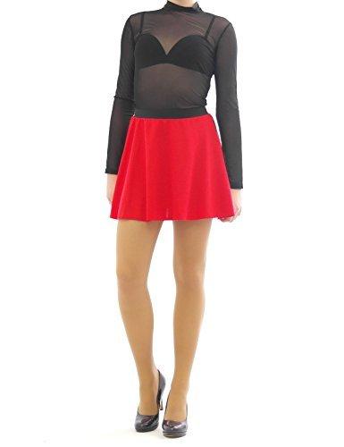 jupe swing lastique rock Rouge mini jupe rides Taille et haute jupe ceinture wtvZ5