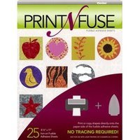 25 Print N Fuse Printable Fusible Paper Backed Iron-On Adhesive Sheets Inkjet by Print N Fuse