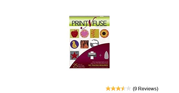 25 Print N Fuse Printable Fusible Paper Backed Iron-On Adhesive Sheets Inkjet