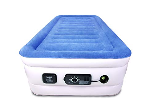 Soundasleep Products Soundasleep Cloudnine Series Twin Air Mattress With Dual Smart Pump Technology Blue Top Beige Body Twin