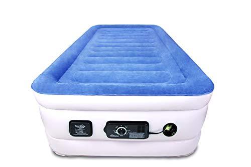SoundAsleep Products SoundAsleep CloudNine Series Twin Air Mattress with Dual Smart Pump Technology (Blue Top/Beige Body, Twin)