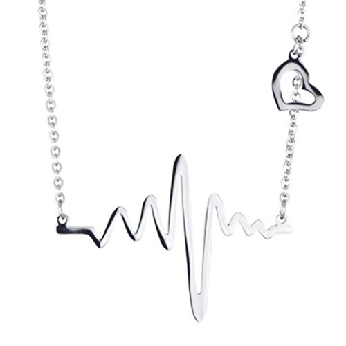 Wholesale-ratail Silver Heartbeat Stainless Steel Pendant Necklace Chain Charming Women Clavicle (Wholesale Beats)