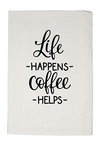 Nino and Baddow Life Happens Coffee Helps Funny Dishcloth Tea Towel Screen Printed Flour Sack Cotton Kitchen Table Linens