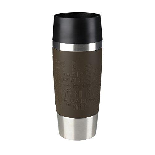 Emsa Travel Mug Taza térmica, Mantiene Calor 4 h y frío 8 h, Acero Inoxidable con Base Antideslizante y Zona de Agarre de Silicona con Letras grabadas, Marrón, 8.1 x 8.1 x 20.1 cm