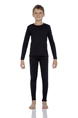 Rocky Boy's Fleece Lined Thermal Underwear 2PC Set Long John Top and Bottom (M, Black)