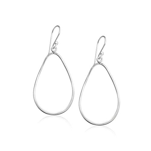 Big Apple Hoops - Genuine 925 Sterling Silver ''Basic and Simple'' Open Teardrop Hoop Dangle Hook Earrings | in 3 Polish Mirror Finishes (Silver, Yellow Gold, Rose Gold)