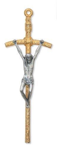 5 1/2-inch Two Tone Papal Crucifix Religious Art Catholic Wall Decor by McVan by McVan