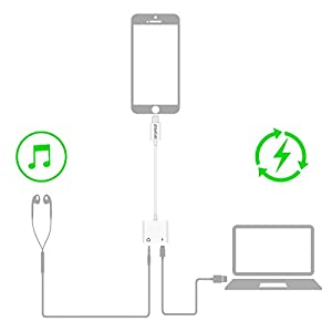 LUOHANTANG 3.5 mm Audio + 2.4A Quick Charge Magic sound Headphone Adapter Lightning Splitter Apply to iPhone X / iPhone 8 / iPhone 8 Plus / iPhone 7 / iPhone 7 Plus by LUOHANTANG