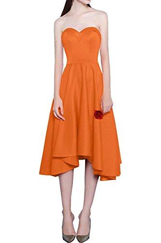 lo Brautjungfernkleider Partykleider A Orange Charmant Abendkleider Rock Rot Wandenlang Damen Linie Satin Hi Asymettrisch t4A4qTg