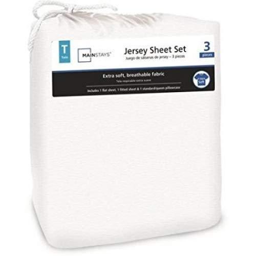 (Mainstays Jersey Knit Sheet Set Arctic White, Queen)