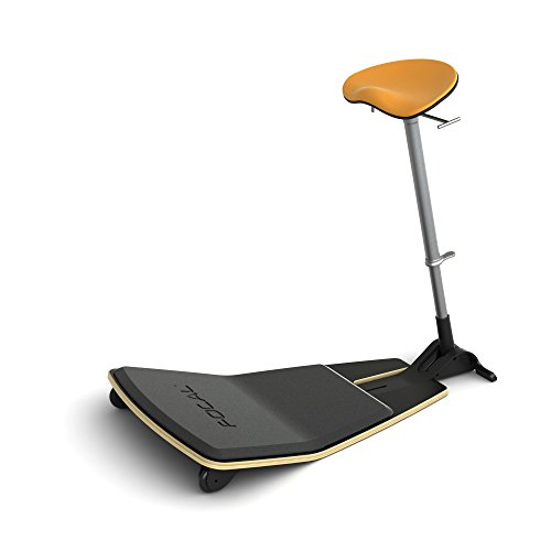 Focal Upright Active Collection FLT-1000-BK-CT Locus Mobile Stand-up Leaning Seat with Foot Rest Platform, Citrus