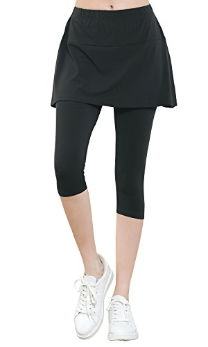 Pique Cropped Pants - ililily Lightweight Skirt W/Stretchy Active Performance Sports Cropped Leggings (leggings-334-2-S) Grey