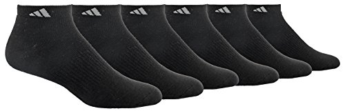 adidas Mens Athletic Cushioned Low Cut Socks (6-Pack), Black, 12-16