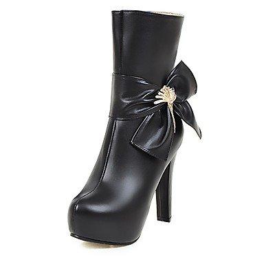 Mujer Zapatos PU Semicuero Invierno Otoño Botas hasta el Tobillo Botas de Moda Botas Tacón alto Dedo redondo Mitad de Gemelo Etc3RAaW0