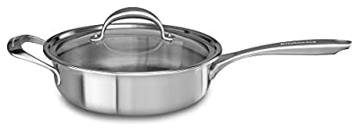 KitchenAid KC2C35EHST 5-Ply Copper Core 3.5 quart Saute with Helper Handle & Lid - Stainless Steel, Medium, Stainless Steel Finish