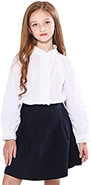 SOLOCOTE Girls White Blouse Ruffle Long Sleeve Button Down Shirts Princess Cotton Loose Soft Tops Spring and S