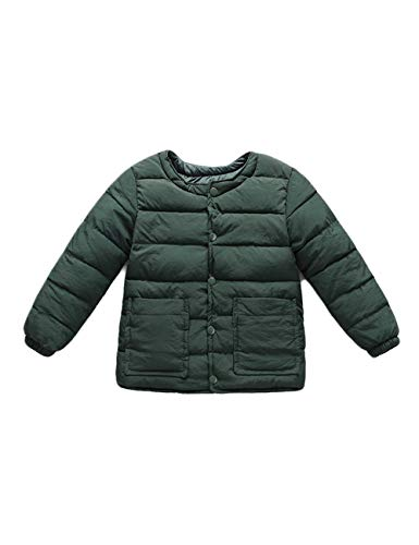 Coats Round Long BESBOMIG Girls Child Green for Neck Dark fit Lightweight Boys Slim Warm Jacket Outwear Casual Baby Cotton Sleeve qOqrPx0a