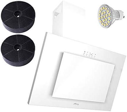 Haag Vertical C color blanco + cristal + LED, filtro de carbón gratis. 60 cm Campana extractora, libre de cabeza, pared: Amazon.es: Grandes electrodomésticos