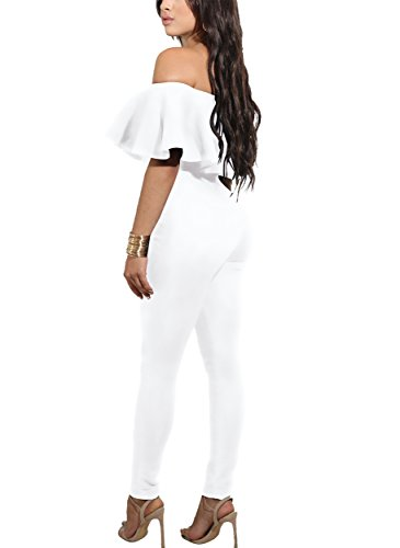 CoCo Fashion Off Shoulder Sleeve Hollow Out Sexy Women Bodycon Long Jumpsuit Rompers (Small, 2186-White)
