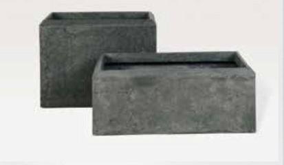 Blumenübertopf Polystone Rectangle aus gemahlenen Stein und Kunststoff, nur für den Innenbereich geeignet, Farbe Schwarz 34x17x45cm